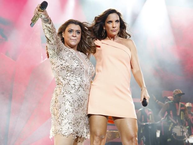 Preta Gil canta com Ivete Sangalo na gravação de seu DVD no Rio (Foto: Felipe Panfili/ Ag. News)