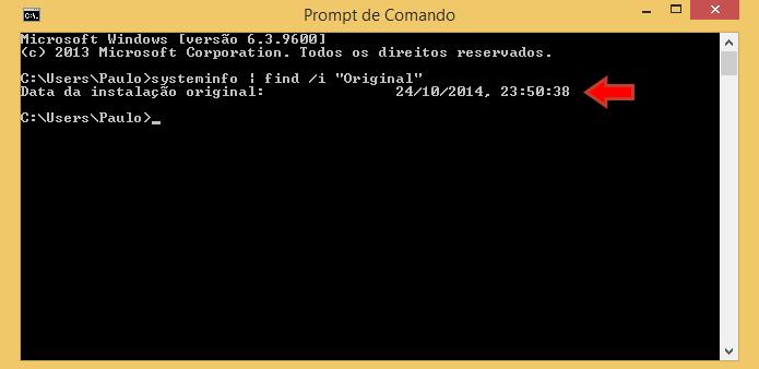 Confira data e horário na tela Digite o código (Foto: Reprodução/Paulo Alves)