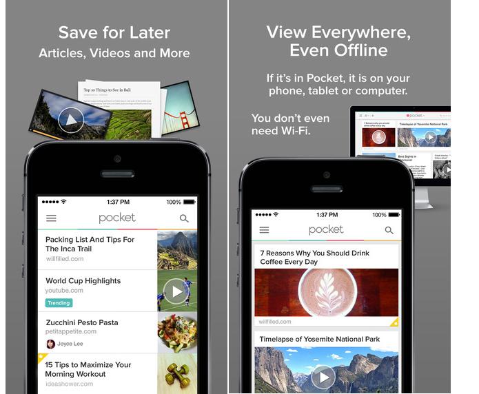 Pocket salva conteúdos para serem visualizados depois (Foto: Divulgação)