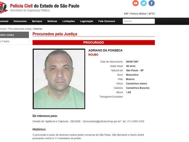 Em lista dos mais procurados de São Paulo, comerciante é preso em Uberaba, Minas Gerais (Foto: Reprodução/Site SSP-SP)
