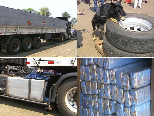 Droga foi encontrada com a ajuda de um cão farejador (Foto: Divulgação / Receita Federal)