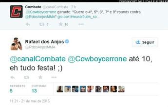 """Curtinhas: Rafael dos Anjos aprova pedido de Cerrone por """"mais rounds"""""""