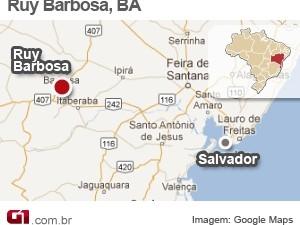 Mapa cidade de Ruy Barbosa, Bahia (Foto: Arte G1)