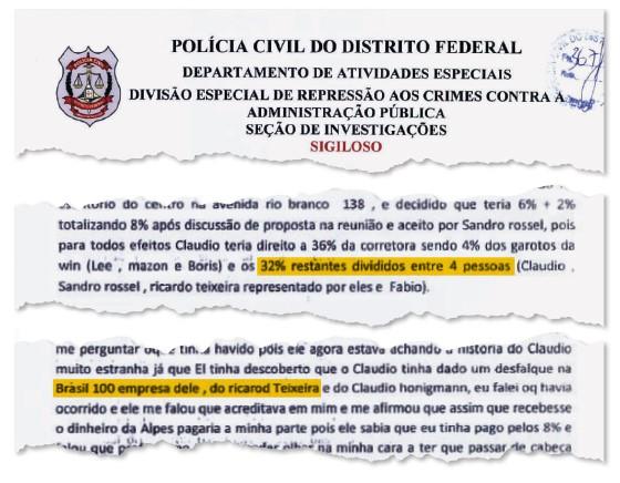 Trechos da carta que implica o ex-presidente da CBF Ricardo Teixeira (acima) com duas empresas. Laço com o  ex-presidente do Barcelona Sandro Rosell (Foto: reprodução)