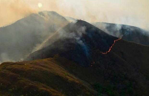 Incêndio na Chapada Diamantina, na Bahia (Foto: Divulgação/ICMBio)