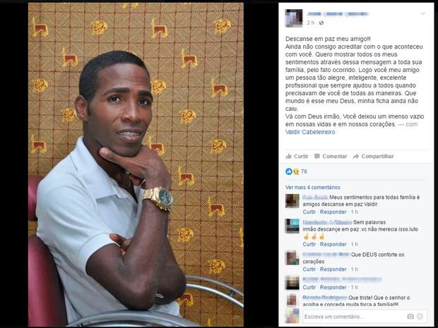af30ed15d3 Valdir foi morto a tiros dentro do próprio salão em Salvador (Foto   Reprodução