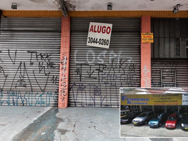 Loja de automóveis fecha as portas em avenida de São Caetano do Sul, no ABC Paulista (Foto: Marcelo Brandt/G1 e Google Street View)
