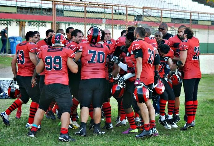 Jogadores do Flamengo Futebol Americano (Foto: Gustavo Scarambone)