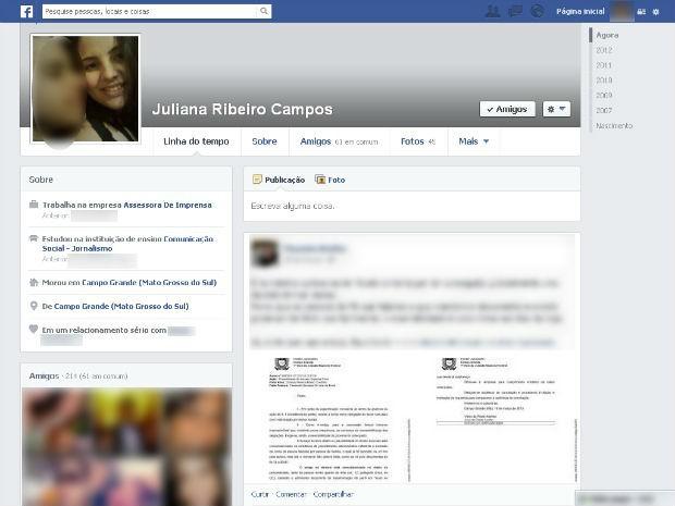 Print do perfil de Juliana no Facebook foi feito e enviado na manhã desta terça-feira (23) por familiares (Foto: Reprodução)