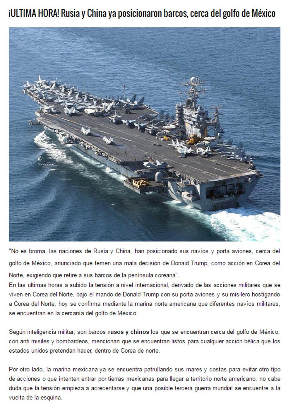 Notícia falsa relata envio de navios russos e chineses ao Golfo do México  (Foto: Reprodução)