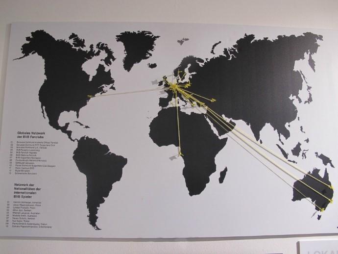 Mapa com torcidas oficiais espalhadas pelo mundo