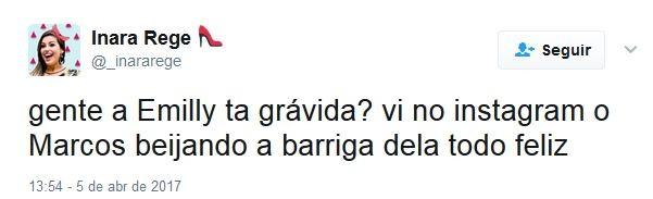 Internautas comentam sobre possível gravidez de Emilly no BBB (Foto: Reprodução / Twitter)