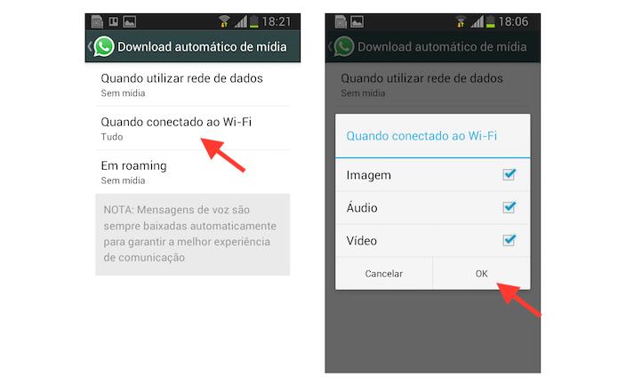 Ativando o download automático de mídia apenas em redes Wi-Fi no WhatsApp para Android (Foto: Reprodução/Marvin Costa)