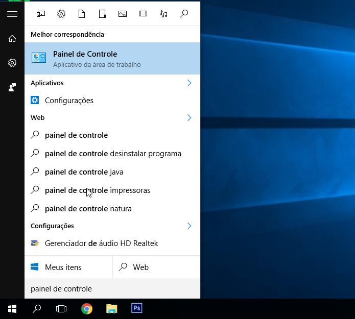 Acessando o painel de controle no Windows 10. (Foto: Reprodução/Alessandro Junior)