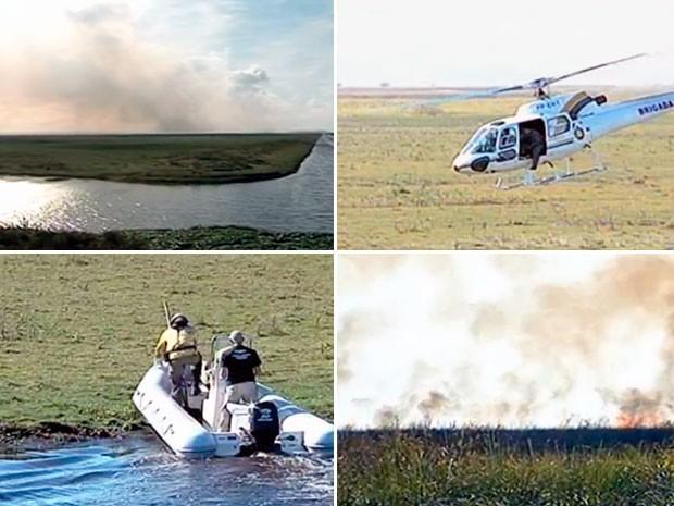 Combate às chamas no Taim já dura sete dias (Foto: Montagem sobre fotos/Reprodução)