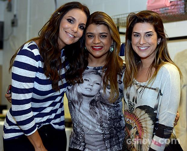 Ivete Sangalo Preta Gil Fê Paes Leme logomarca Bastidores Top 9 (Foto: Camila Serejo/TV Globo)