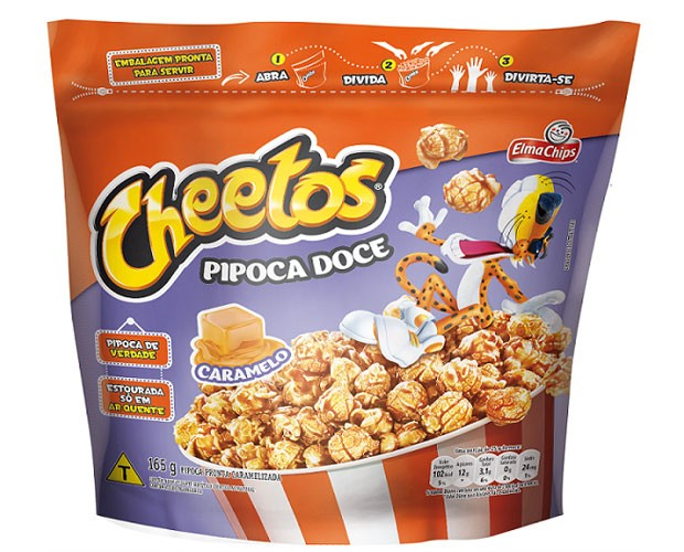 Chettos ingressa na categoria de pipocas prontas para comer, nos sabores queijo e caramelo. (Foto: Divulgação)