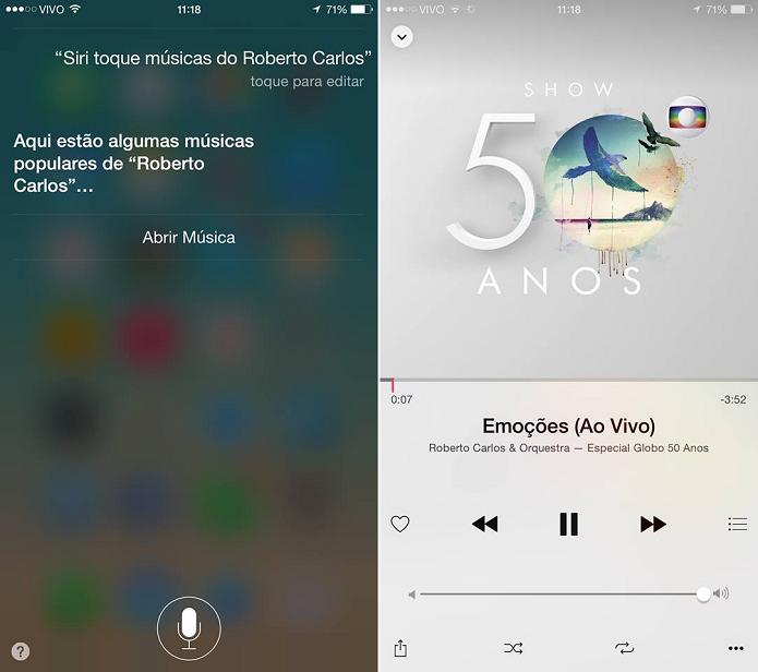 Procure por músicas do artista favorito usando a Siri (Foto: Reprodução/Aline Jesus)