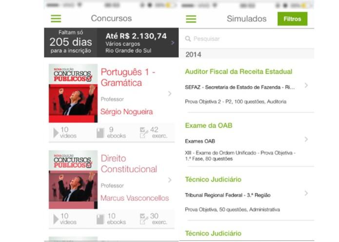 O app disponibiliza simulados além de videos, ebooks e exercícios (Foto: Reprodução/Karen Malek)