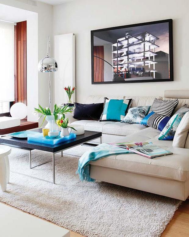 decoracao sofa branco:Décor do dia: branco, preto e radiante