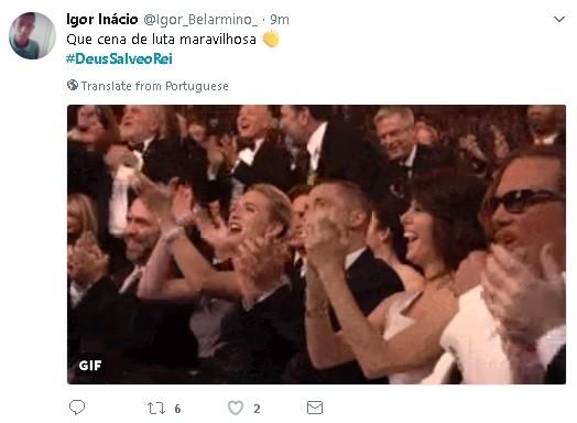 Usuário do Twitter comenta estreia de 'Deus salve o rei' (Foto: Reprodução)