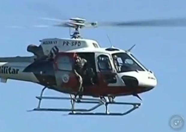 Helicóptero Águia foi chamado para ajudar na 'busca' (Foto: Divulgação / TV TEM)