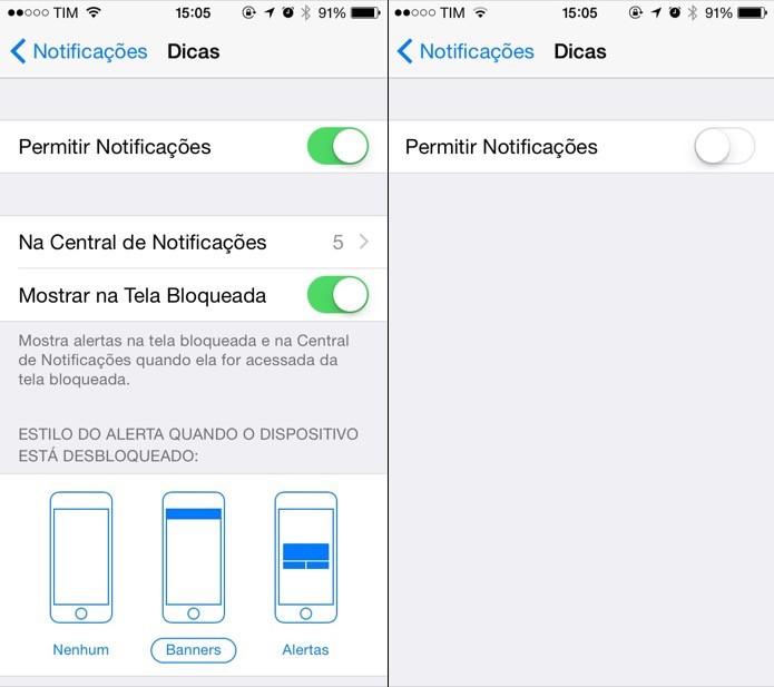 Desativando notificações do aplicativo (Foto: Reprodução/Helito Bijora)