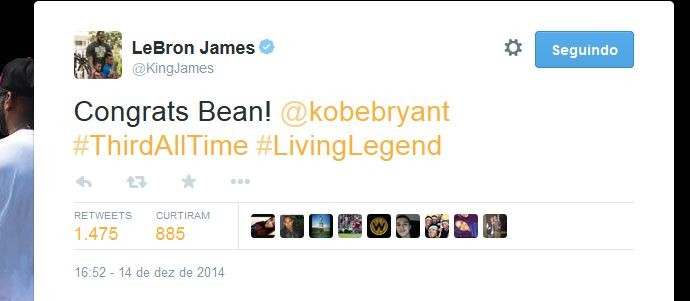 LeBron James parabeniza Kobe Bryant (Foto: Reprodução/Twitter)
