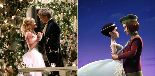 Hilary Duff em 'A Nova Cinderela' (2004) e a animação 'Deu a Louca na Cinderela' (Foto: Divulgação/Reprodução)