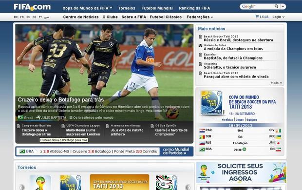 reprodução site FIFA Cruzeiro e botafogo (Foto: FIFA)
