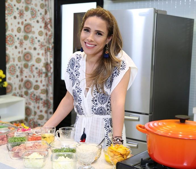 Wanessa Camargo cozinha pela primeira vez no Estrelas (Foto: Carol Caminha/Gshow)