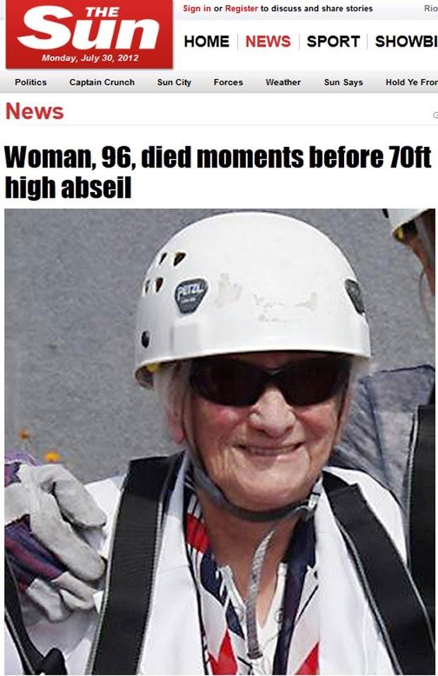 A aposentada Gertrudie momentos antes de tentar descer rapel em campanha beneficente (Foto: Reprodução / The Sun)