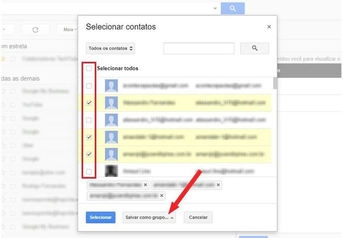 Selecione os contatos do Gmail quer serão incluídos no grupo (Foto: Reprodução/Rodrigo Fernandes)