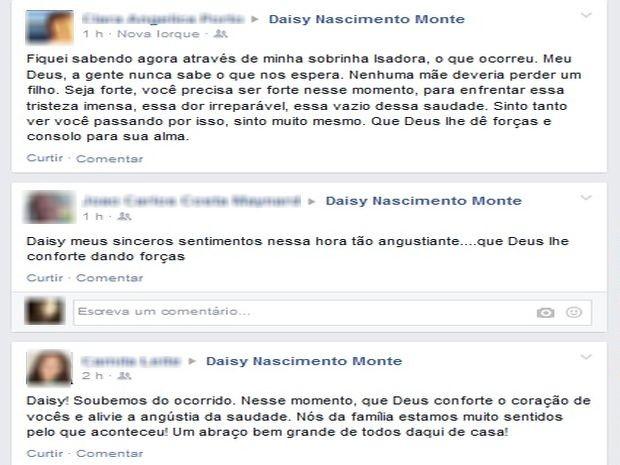 Por rede social, amigos e familiares dão apoio a mãe de Yves Monte (Foto: Reprodução/TV Sergipe)