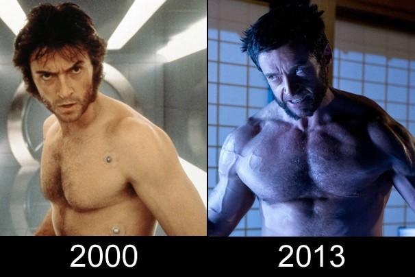Hugh Jackman como Wolverine em 'X-Men' e em 'Wolverine: Imortal' (2013); repare na mudança física do ator (Foto: Divulgação)