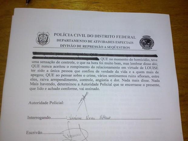Trecho de documento divulgado pela Polícia Civil. (Foto: Polícia Civil/Divulgação)