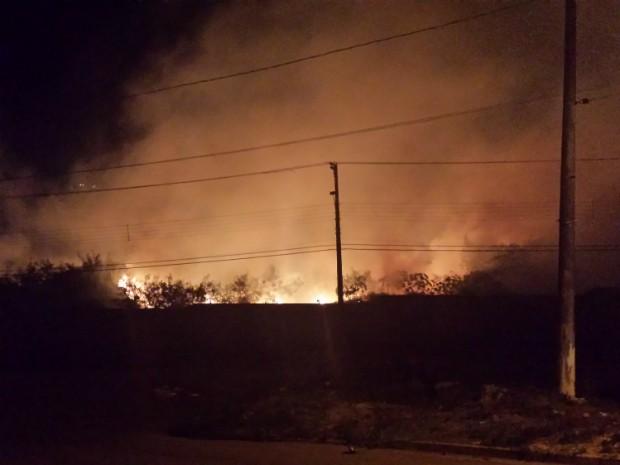 Morador flagrou queimada na Vila Virgínia, em Itapeva (Foto: TEM Você / Robson Estevam)