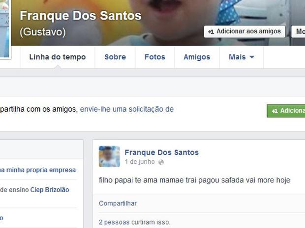 Homem publica intenção de matar a mulher em rede social  (Foto: Reprodução / Facebook )