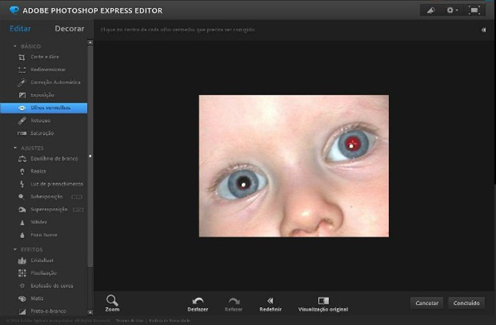Remoção de olhos vermelhos no Photoshop online (Foto: Reprodução/Raquel Freire)
