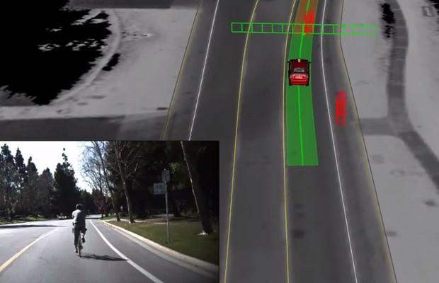 Carro autônomo do Google detecta ciclista (Foto: Reprodução)