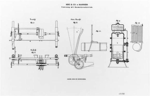 Patente do Benz Patent-Motorwagen registrada por Karl Benz (Foto: Divulgação)