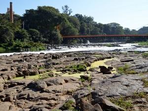 Rio Piracicaba sofre com a falta de chuva (Foto: Fernanda Zanetti/G1)