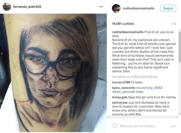 Mia Khalifa critica tatuagem feita por fã brasileiro (Foto: Reprodução/Instagram)