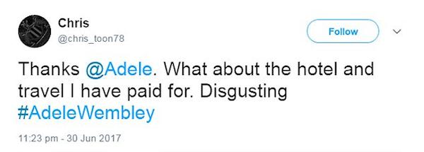 Fãs decepcionados com a cantora Adele (Foto: Twitter)