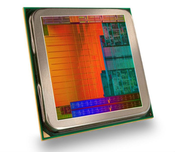 O bloco do Kaveri carrega os processadores (laranja), núcleos gráficos (verde), memória de troca (azul) e codificadores de mídia (topo) em apenas 4 cm² (Foto: Divulgação/AMD)