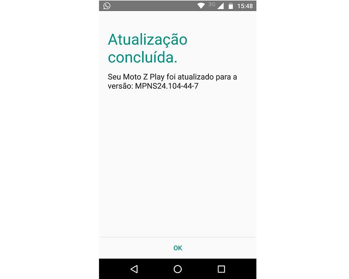 Mensagem confirmando a Atualização (Foto: Felipe Alencar/TechTudo)