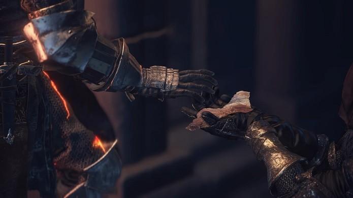 Dark Souls 3: converse com o NPC e pegue o item necessário (Foto: Reprodução/Victor Teixeira)