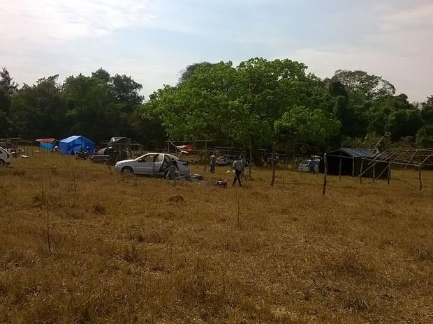 Famílias montam acampamento em fazenda de propriedade particular (Foto: Antônio Ferreira/ MST)