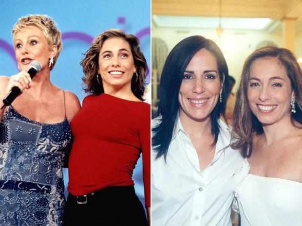 Dois diferentes momentos de Cissa Guimarães com Ana Maria e Gloria Pires (Foto: CEDOC / TV Globo)