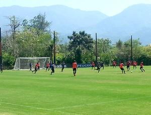 treino Flamengo jogadores rachão (Foto: Vicente Seda)